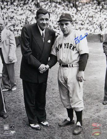 Yogi Berra with Babe Ruth Autographed Photo (Hand Signed Collectable)