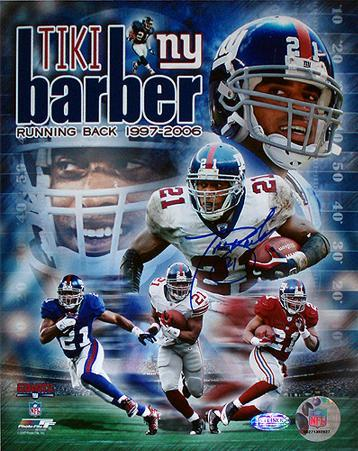 Tiki Barber Legends Collage Signed Autographed Photo (Hand Signed Collectable)