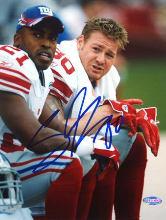 Jeremy Shockey on the Bench with Tiki Autographed Photo (Hand Signed Collectable)
