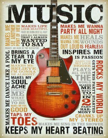 Music Inspires Me Distressed Retro Vintage Tin Sign