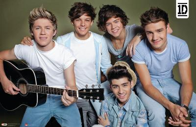 One Direction - Horizontal Group with Guitar Music Poster