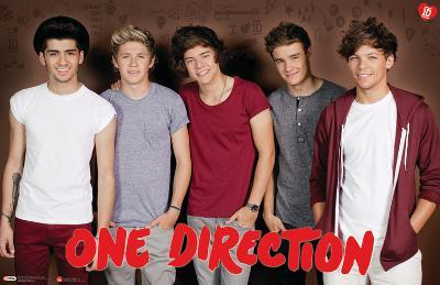 One Direction - Group Burgundy Background Music Poster