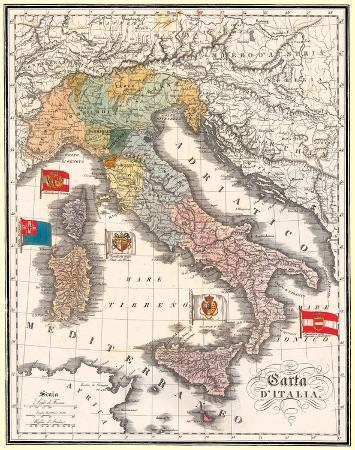 Carta D' Italia (Map of Italy) - Antique Style Italian Map Poster