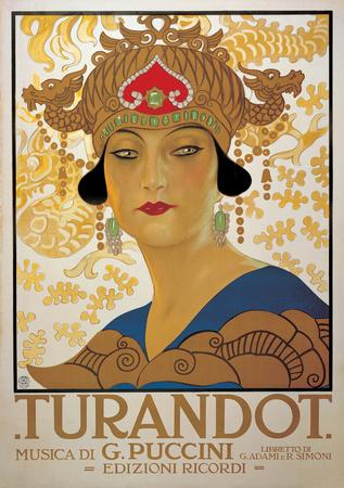 Turandot (G. Puccini) - Vintage Style Italian Opera Poster