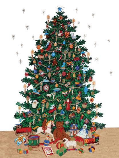 Vintage Style Christmas Ornaments.Christmas Tree Vintage Style Italian Poster