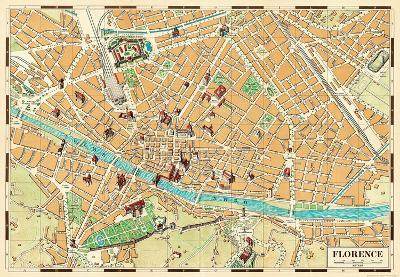 Mappa Di Firenze (Map of Florence) - Vintage Style Italian Map Poster