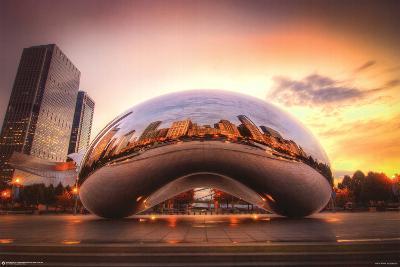 Chicago Cloud Gate Sunset