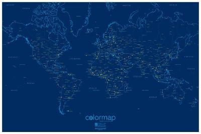 Color Map - City Lights - Blue Map Poster