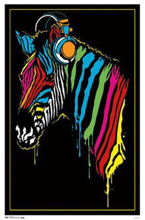 Zebra Headphones Blacklight Poster