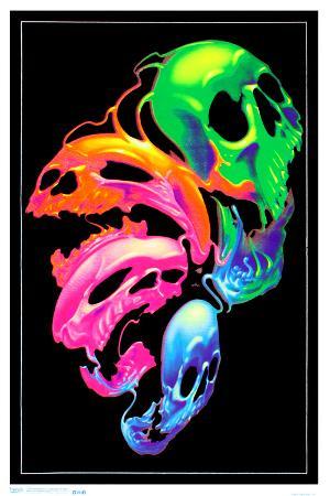 Liquid Skulls Fantasy Blacklight Poster