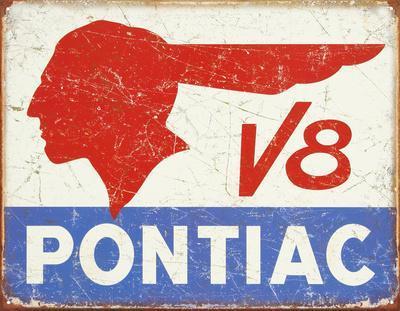 Pontiac V8 Logo - Distressed Retro Vintage Tin Sign