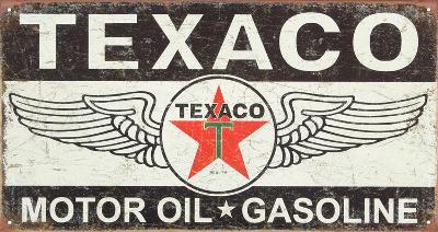 Texaco Winged Logo Distressed Retro Vintage Tin Sign