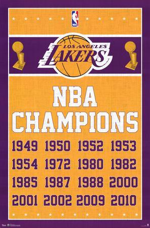 Los Angeles Lakers NBA Champions Sports Poster