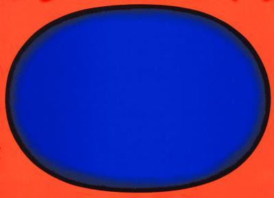 Blauschwarz auf Rot - Oval I