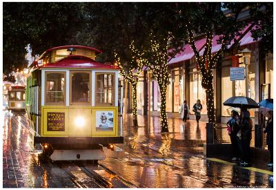 Cable Cars on Christmas Day Photo Poster
