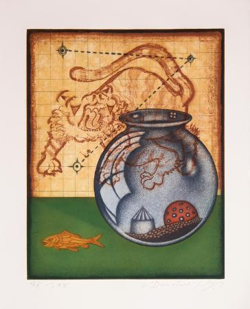 Tiger, Goldfish and Bowl