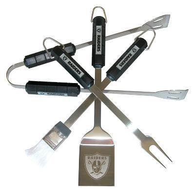 NFL Oakland Raiders Four Piece Stainless Steel BBQ Set