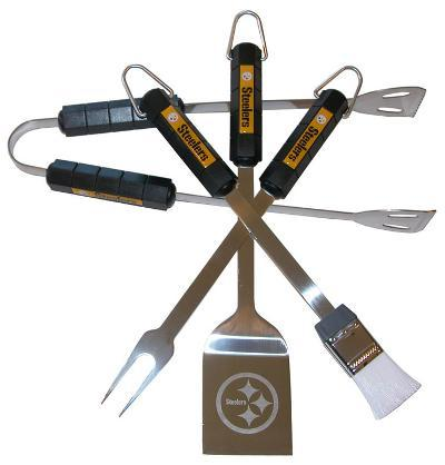 NFL Pittsburgh Steelers Four Piece Stainless Steel BBQ Set