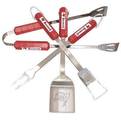 NFL Tampa Bay Bucaneers Four Piece Stainless Steel BBQ Set