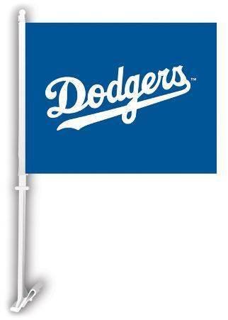 MLB Los Angeles Dodgers Car Flag with Wall Bracket