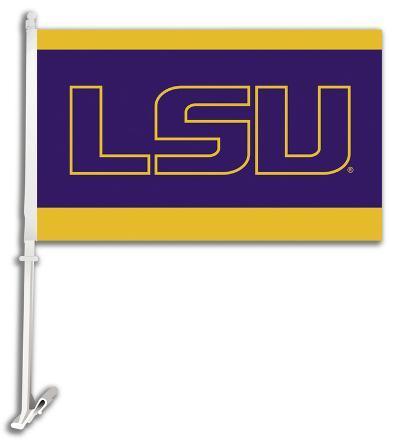 NCAA Louisiana State Tigers Car Flag with Wall Bracket
