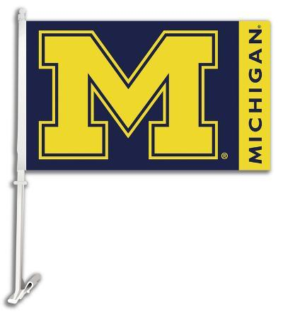 NCAA Michigan Wolverines Car Flag with Wall Bracket