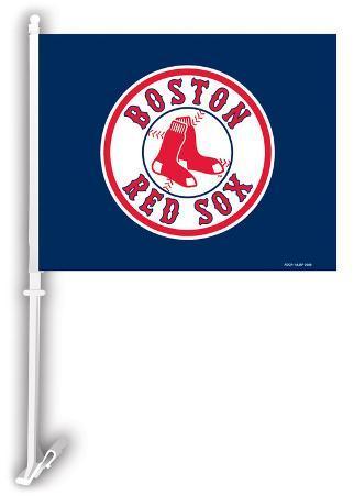 MLB Boston Red Sox Car Flag with Wall Bracket