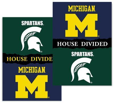 NCAA Michigan - Michigan State 2-Sided House Divided Rivalry Banner