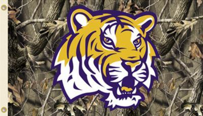 NCAA Louisiana State Tigers Camo Flag with Grommets