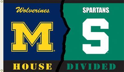 NCAA Michigan - Michigan State Rivarly House Divided Flag with Grommets