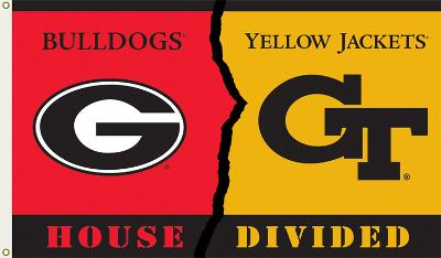 NCAA Georgia - Georgia Tech Rivarly House Divided Flag with Grommets