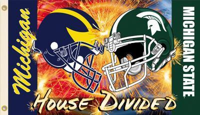 NCAA Michigan - Michigan St. House Divided Rivarly Helmet Flag with Grommets
