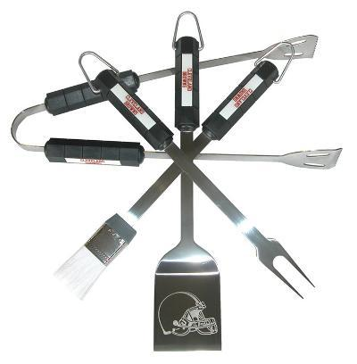 NFL Cleveland Browns Four Piece Stainless Steel BBQ Set