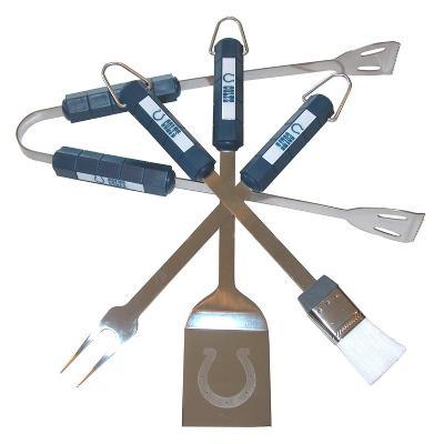 NFL Indianapolis Colts Four Piece Stainless Steel BBQ Set