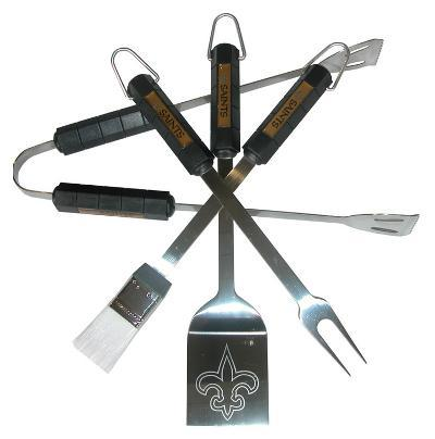 NFL New Orleans Saints Four Piece Stainless Steel BBQ Set