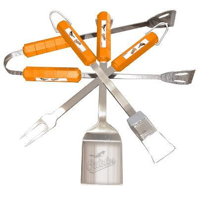 MLB Baltimore Orioles Four Piece Stainless Steel BBQ Set