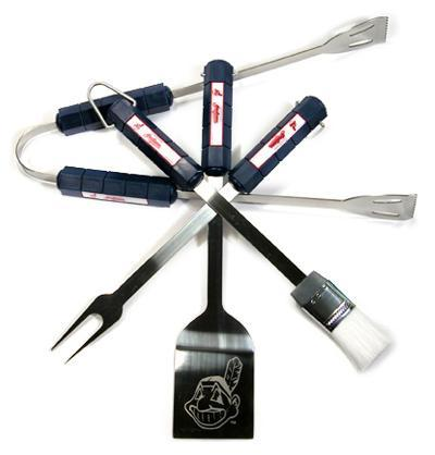 MLB Cleveland Indians Four Piece Stainless Steel BBQ Set