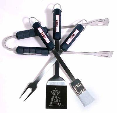MLB Los Angeles Angels Four Piece Stainless Steel BBQ Set