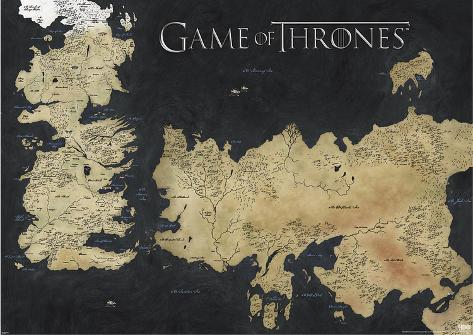 photograph regarding Printable Map of Westeros called Video game of Thrones Map of Westeros Essos Enormous Tv set Poster