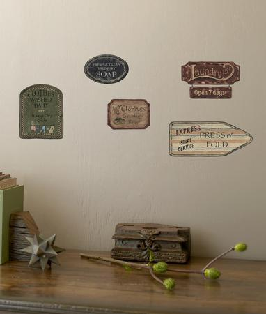 Laundry Signs On Weathered Wood Planks Accent Wall Decal