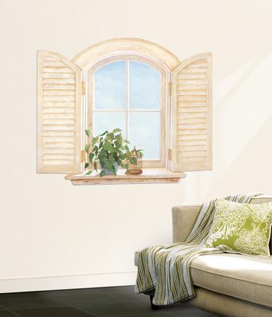 Window With Shutters Accent Wall Decal