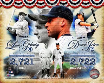 Derek Jeter & Lou Gehrig All-Time Yankee Hit Leader Composite