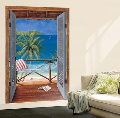 Trompe L'Oiel Tropical Doors Wall Accent Huge Mural Art Print Poster