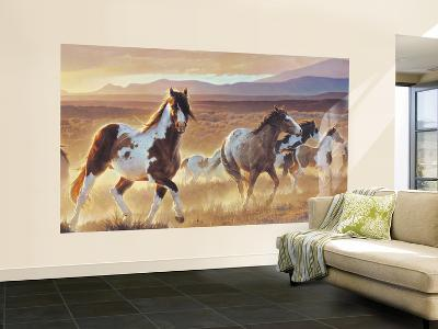 Desert Horse With Painted Ponies, Sage Plains and Foothill Mountains Huge Mural Art Print Poster