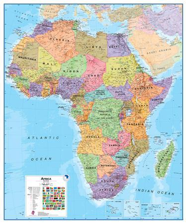 Africa 1:8 Wall Map, Educational Poster