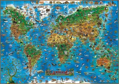Animals of the World Map Educational Poster