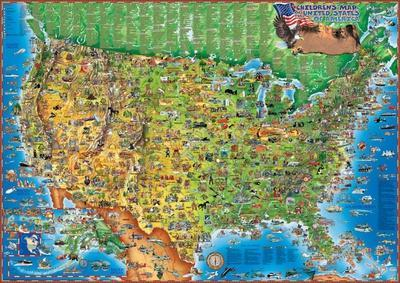 Children's Map of the USA, Laminated Educational Poster