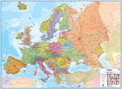Europe 1:4.3 Wall Map, Laminated Educational Poster