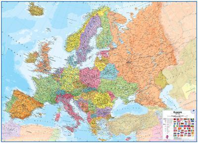 Europe 1 4 3 Wall Map Laminated Educational Poster Prints At