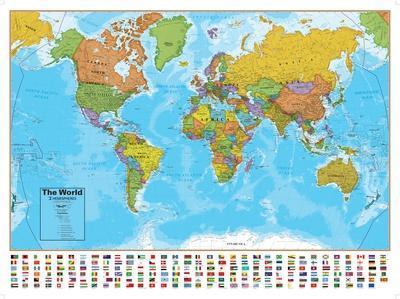 Hemispheres Blue Ocean World Wall Map Laminated Educational Poster